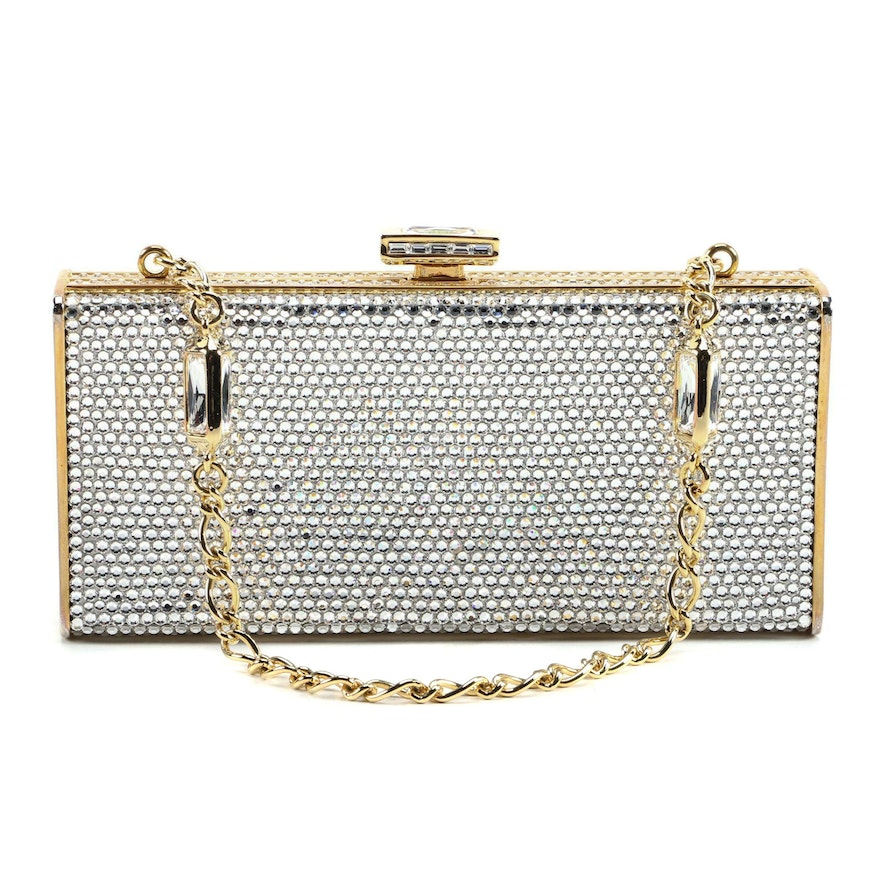 Judith Leiber New York Crystal Box Clutch with Baguette Cut Crystal Accents