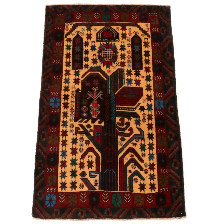 2'11 x 4'10 Hand-Knotted Persian Baluch Rug, 2000s