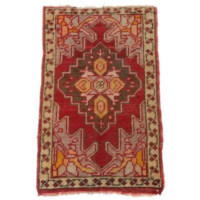 1'6 x 2'4 Hand-Knotted Turkish Oushak Rug, 1920s