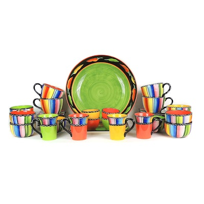 "Clay Art ""Fiesta"" Hand Painted Bowl and Certified International Dinnerware"