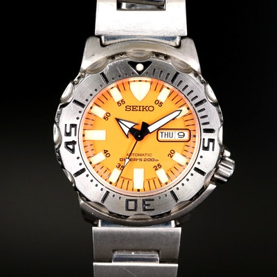 "Seiko ""Orange Monster"" Stainless Steel Automatic Divers Wristwatch"