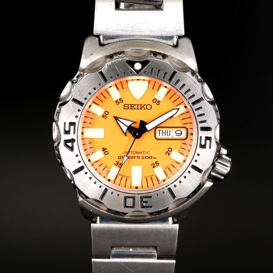 """Seiko """"Orange Monster"""" Stainless Steel Automatic Divers Wristwatch"""