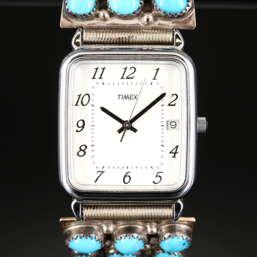 Timex Watch with Wilford Nez Navajo Diné Sterling Turquoise and Coral Bracelet