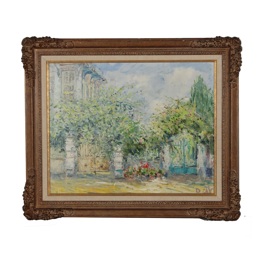 Garden Landscape Oil Painting, Mid to Late 20th Century
