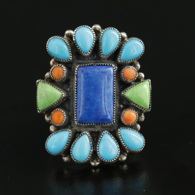 Southwestern Leo Feeney Sterling Ring Including Gaspeite and Lapis Lazuli