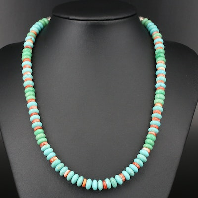 Southwestern Sterling Silver Variscite and Spiny Oyster Beaded Necklace