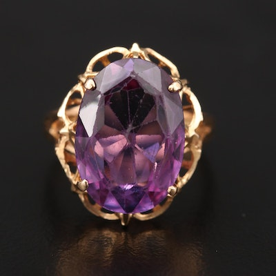 18K Rose Gold Color-Change Sapphire Ring