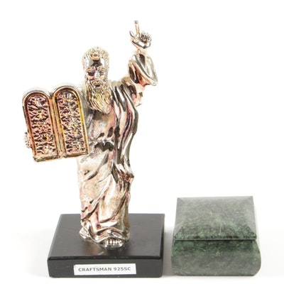 Silver Plate Moses with Decalogue on Wooden Base and Polished Stone Trinket Box