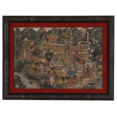 Balinese Folk Art Painting of a Village Scene