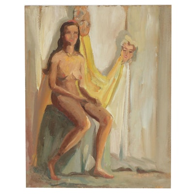 Letha Gaskins Female Nude Figure Oil Painting, Mid-20th Century