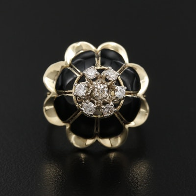 Vintage 14K Yellow Gold Diamond and Enamel Floral Dome Ring