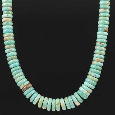 Sterling Silver Stabilized Turquoise Graduated Beaded Necklace