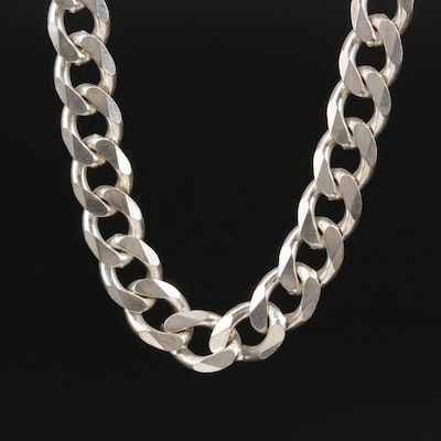Sterling Silver Curb Link Chain Necklace