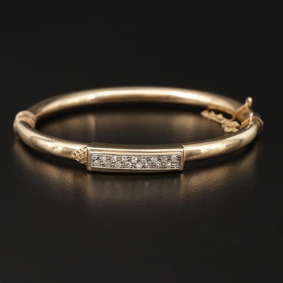 Vintage Yellow Gold Diamond Hinged Bangle Bracelet