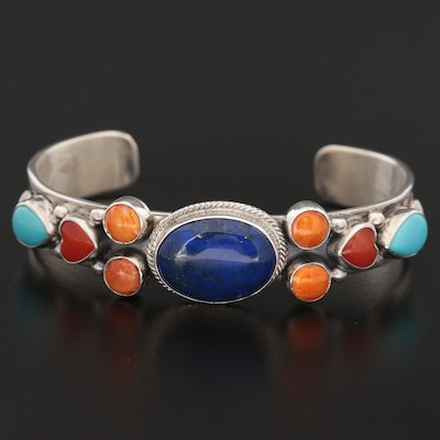 Southwestern Sterling Lapis Lazuli, Spiny Oyster, Coral and Turquoise Cuff
