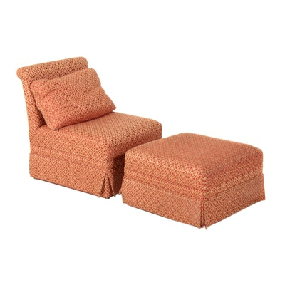Mid-Century Brocade Slipper Chair with Ottoman