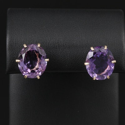 14K Yellow Gold Oval Faceted Amethyst Stud Earrings