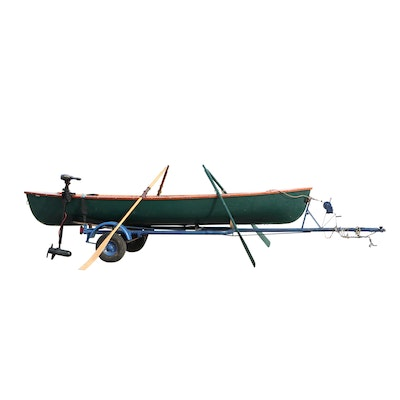 B. Giesler & Sons 15.5 ft. Row Boat with Minn Kota Trolling Motor and Trailer