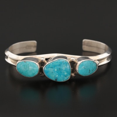 Roie Jaque Navajo Sterling Silver Turquoise Cuff Bracelet