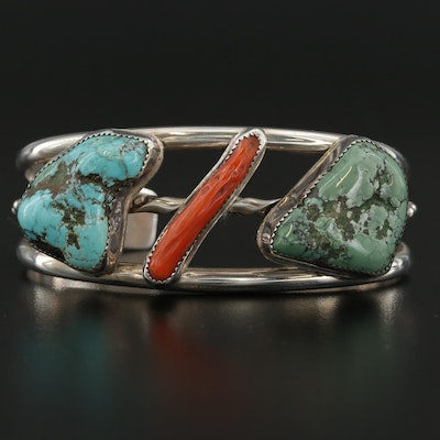 Signed Southwestern Sterling Silver Turquoise and Coral Cuff Bracelet