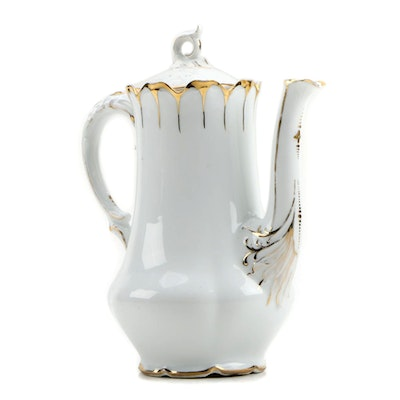Gilt Accented White Porcelain Coffee Pot, Early to Mid 20th Century