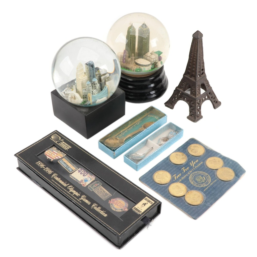 Souvenir Snow Globes, Spoons, Olympic Game Pins, Solid Brass Coins, and More