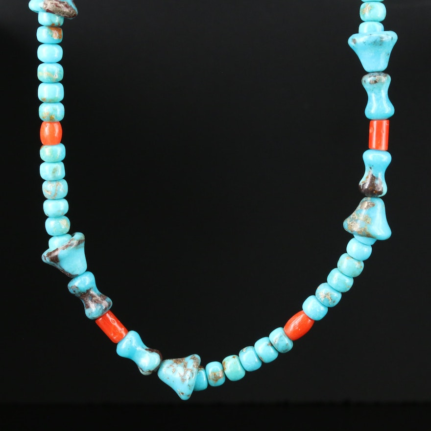 Southwestern Sterling Turquoise, Coral, Black Onyx and Cultured Pearl Necklace