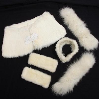 White Rabbit Fur Wedding Stole with Mink and Fox Fur Accessories