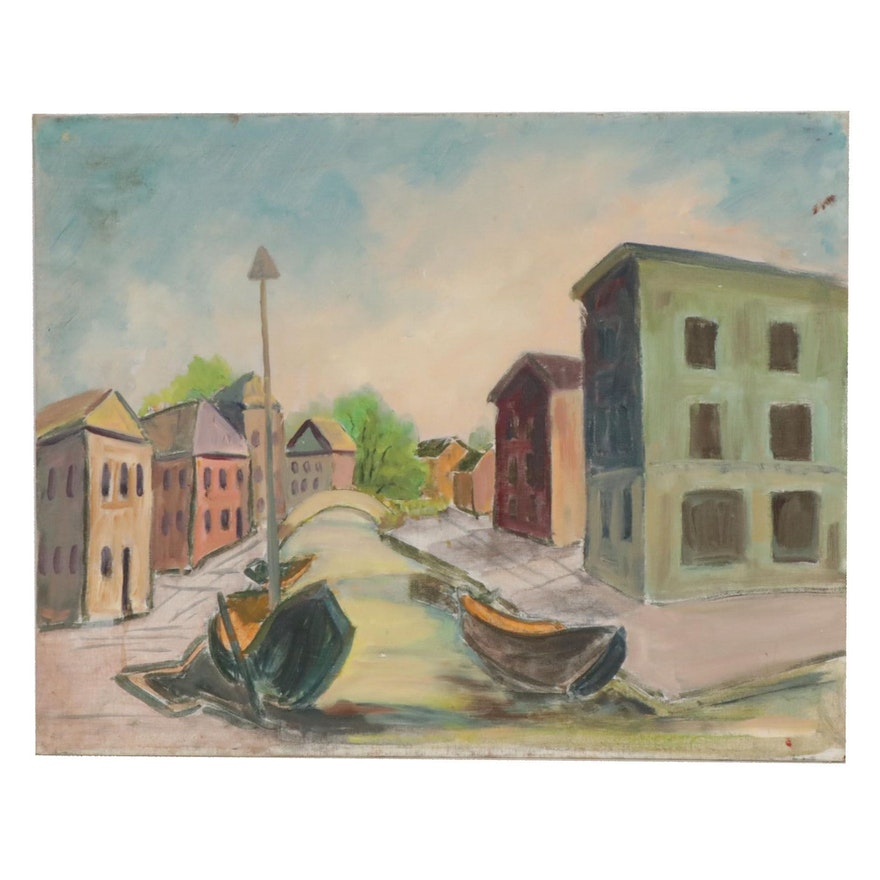 Letha Gaskins Oil Painting of Canal Scene, Mid to Late 20th Century