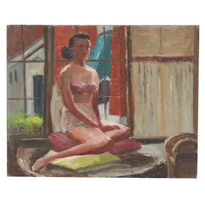 Letha Gaskins Oil Painting of Female Nude Figure, Mid-20th Century