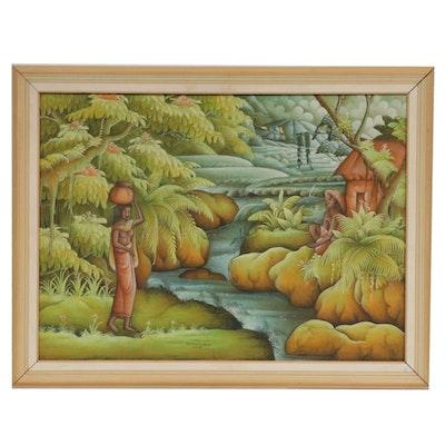 Wayan Suka Balinese Landscape Acrylic Painting