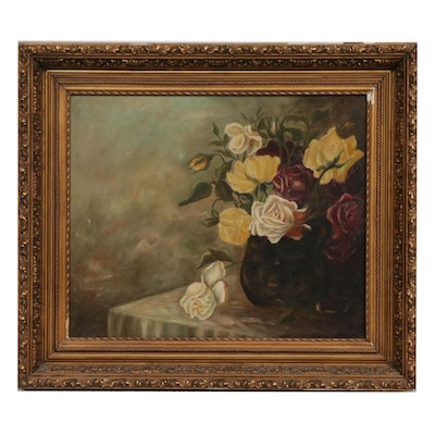 Floral Still Life Oil Painting, Late 19th Century