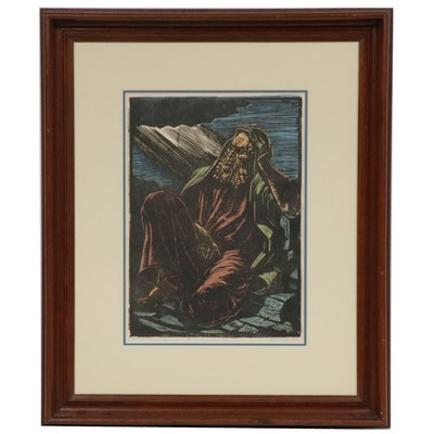 "Jakob Steinhardt Woodblock ""Jeremiah,"" Early to Mid 20th Century"