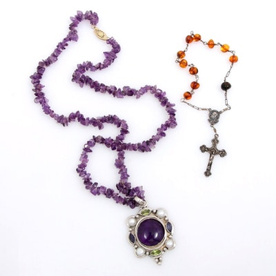 Sterling Silver Necklace and Rosary