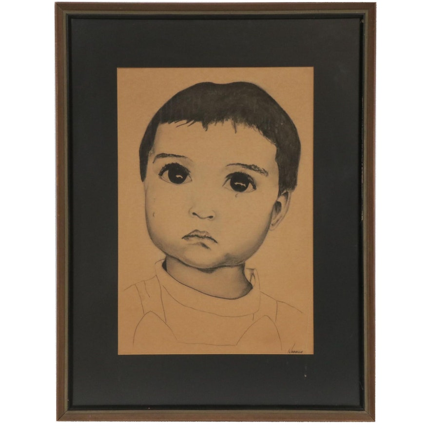 Charcoal Drawing of Crying Child