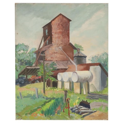 Letha Gaskins Indiana Farm Scene Oil Painting, Mid-20th Century