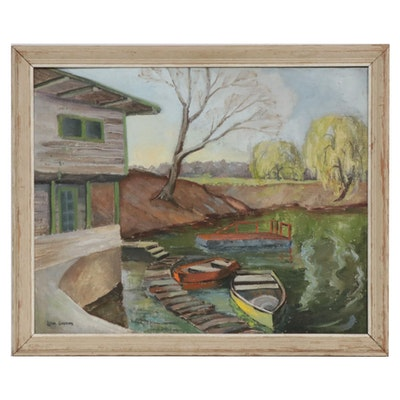 Letha Gaskins Dock Landscape Oil Painting, Mid-20th Century