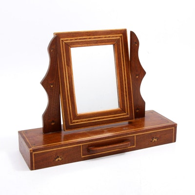 Handcrafted Inlaid Wood Tabletop Vanity Mirror, 20th Century