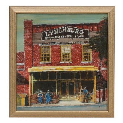 Lynchburg General Store Oil Painting, Mid to Late 20th Century