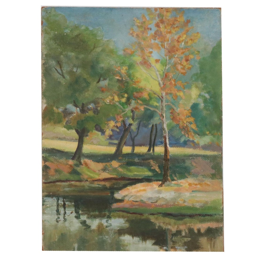 Double-Sided Oil Painting of Creek Landscapes, Mid-20th Century