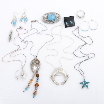 Sterling Silver Jewelry Featuring Southwestern Style Pieces and Naja Pendant