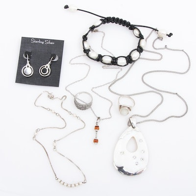 Sterling Silver Necklaces, Rings, Earrings and Adjustable Cord Bracelet