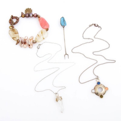 Necklaces, Bracelet and Pick Including Sterling Silver and Saki Bronze