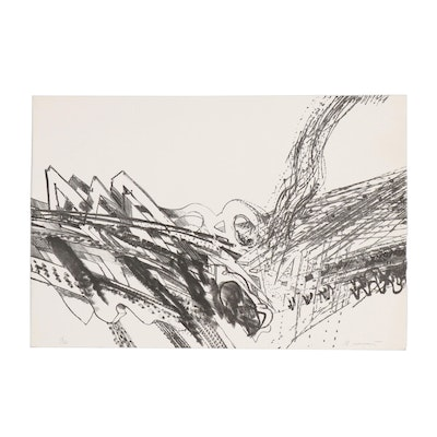 Richard Howard Hunt Abstract Stone Lithograph