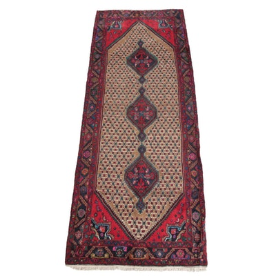 3'10 x 11'0 Hand-Knotted Persian Afshari Bijar Wool Long Rug