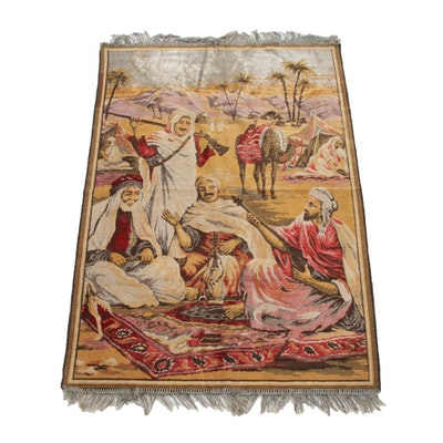 2'10 x 4'4 Machine Made Silk and Wool Pictorial Accent Rug