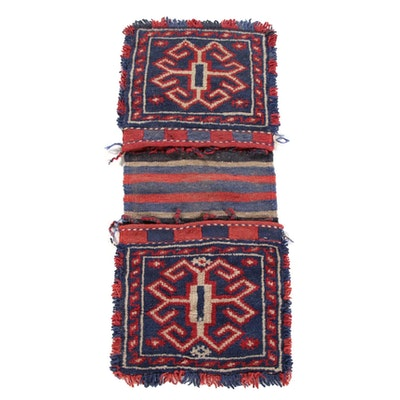 1'3 x 2'11 Hand-Knotted and Woven Anatolian Wool Saddle Bag