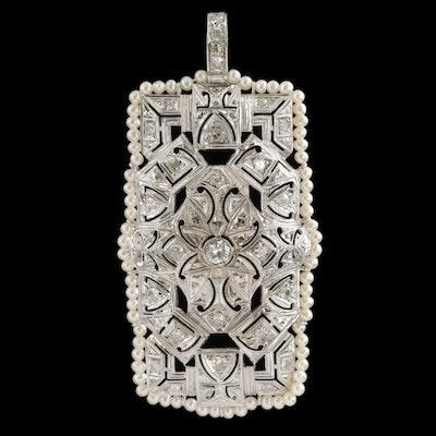 Vintage Platinum 1.02 CTW Diamond and Seed Pearl Pendant