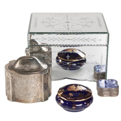 Mirrored Jewelry Box with Decorative Boxes, Including Imperia Limoges