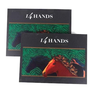 Pair of 14 Hands Vineyards Illuminated Acrylic Advertising Signs